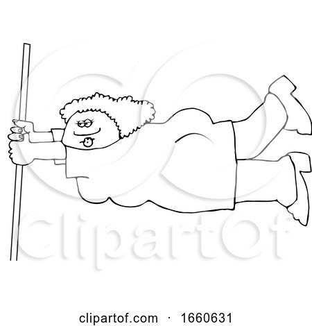 Cartoon Black and White Lady Holding onto a Pole in Extreme Wind by djart
