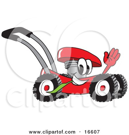 Clipart Picture of a Red Lawn Mower Mascot Cartoon Character Waving While Passing By by Toons4Biz