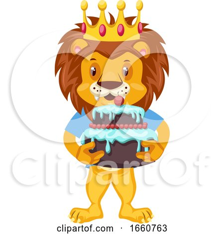 Lion with Birthday Cake by Morphart Creations