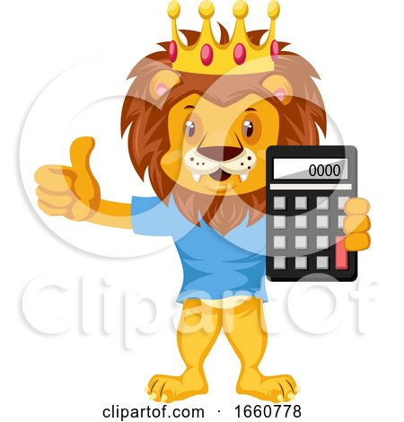 Lion with Calculator by Morphart Creations