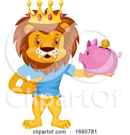 Lion with Piggy Bank by Morphart Creations