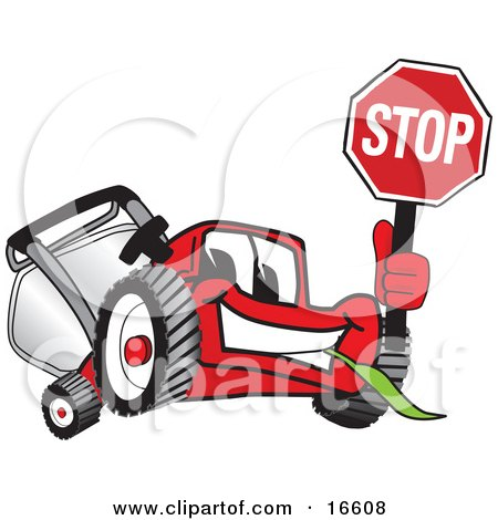 Clipart Picture of a Red Lawn Mower Mascot Cartoon Character Waving a Stop Sign by Toons4Biz
