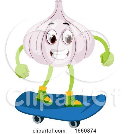 Garlic on Skateboard by Morphart Creations
