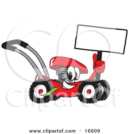 Red lawn mower mascot cartoon character holding up a blank sign while