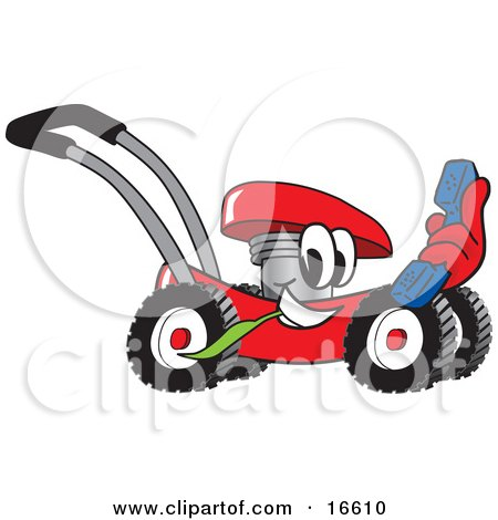 Clipart Picture of a Red Lawn Mower Mascot Cartoon Character Holding a Blue Telephone by Toons4Biz