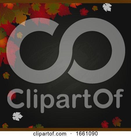 Autumn Black Board and Leafs Background by elaineitalia