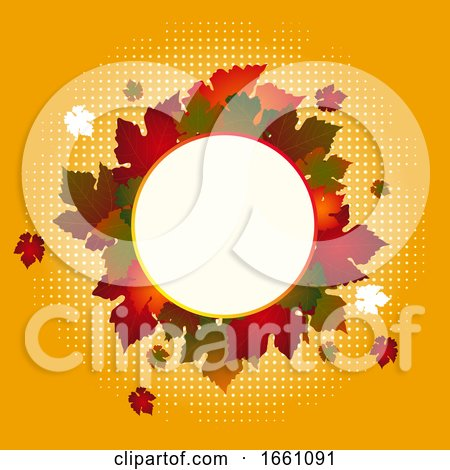 Autumn Circular Border Copy Space with Leafs by elaineitalia