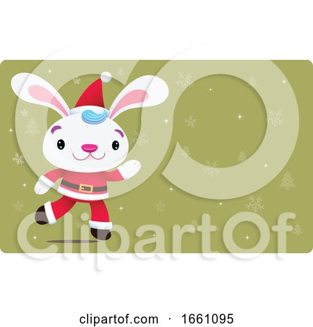 Christmas Bunny Rabbit over Green and Snowflakes by Qiun