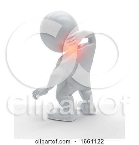 3D Male Figure Holding His Neck in Pain by KJ Pargeter