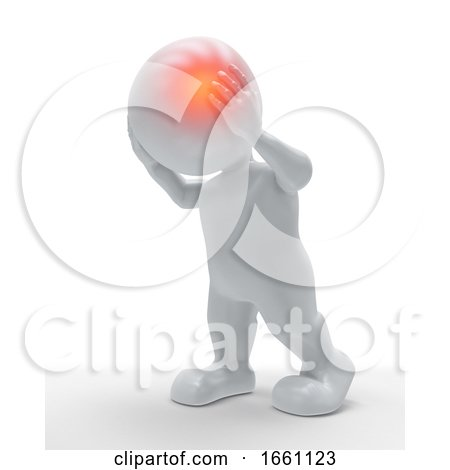 3D Male Figure with Head Highlighted in Pain by KJ Pargeter