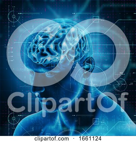 3D Medical Background with Technology Design over Male Figure with Brain Highlighted by KJ Pargeter