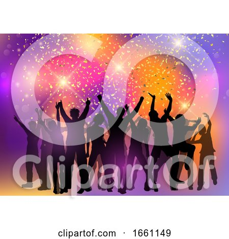 Party Crowd on an Abstract Background with Confetti by KJ Pargeter