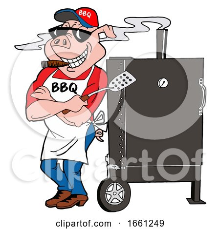 Bbq Pig Smoking a Cigar and Leaning Against a Smoker by LaffToon