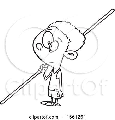 Cartoon Outline Black Boy Pole Vaulter by toonaday