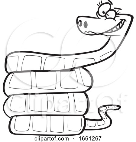 Cartoon Outline Grinning Female Snake by toonaday
