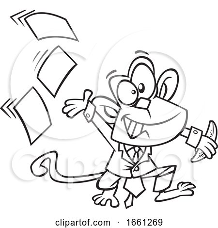 Cartoon Outline Business Monkey Tossing Papers by toonaday
