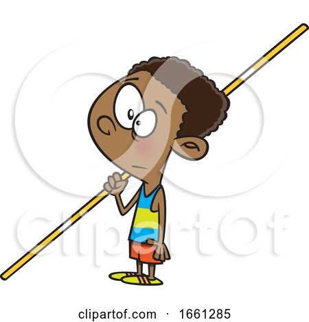 Cartoon Black Boy Pole Vaulter by toonaday