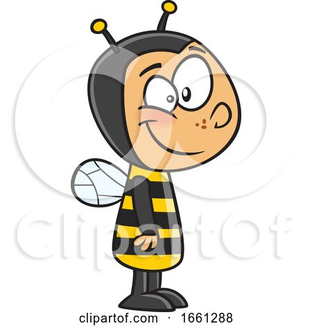 Cartoon White Boy in a Bee Costume by toonaday