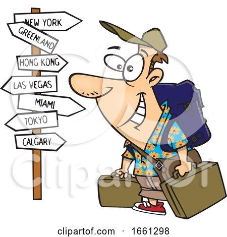 Cartoon White Male World Traveler by toonaday