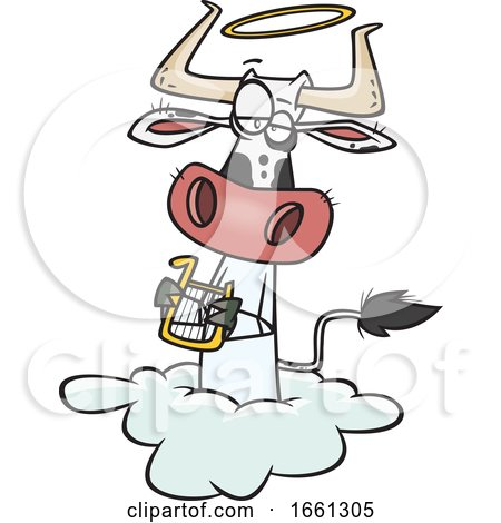 Cartoon Holy Cow Angel on a Cloud by toonaday