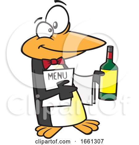 Cartoon Maitre D Penguin Holding Wine and a Menu by toonaday