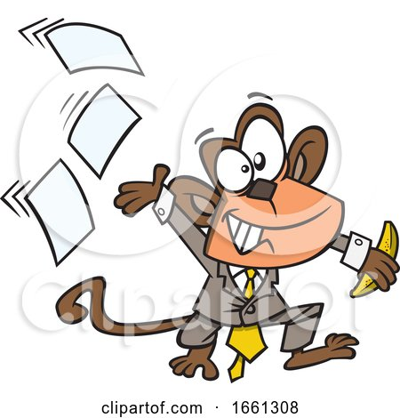 Cartoon Business Monkey Tossing Papers by toonaday