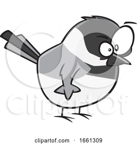 Cartoon Angry Chickadee Bird by toonaday