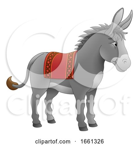 Donkey Animal Cartoon Character by AtStockIllustration