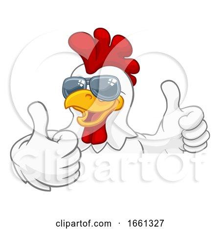 Chicken Rooster Cockerel Bird Sunglasses Cartoon Posters, Art Prints