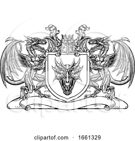 Dragon Heraldic Crest Coat of Arms Shield Emblem by AtStockIllustration