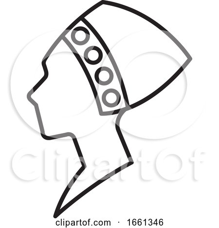 Lineart African Woman Bust in Profile by Lal Perera