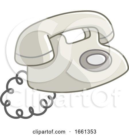 Cartoon Old White Telephone by yayayoyo