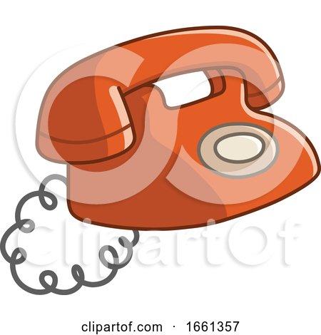 Cartoon Old Red Telephone by yayayoyo
