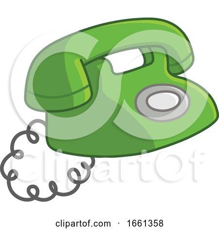 Cartoon Old Green Telephone by yayayoyo