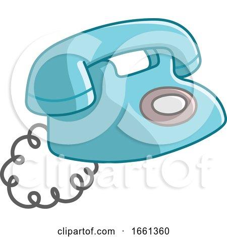 Cartoon Old Blue Telephone by yayayoyo