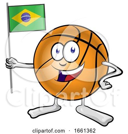 Basketball Mascot Holding a Brazil Flag by Domenico Condello