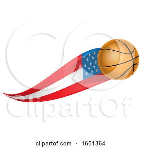 Basketball with an American Flag Trail by Domenico Condello