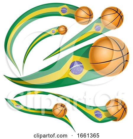 3d Brazilian Flag Basketball Banners by Domenico Condello