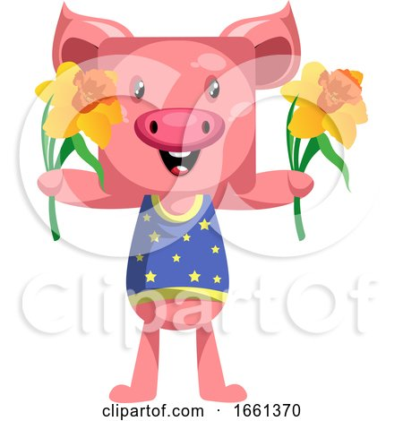 Pig with Flowers by Morphart Creations