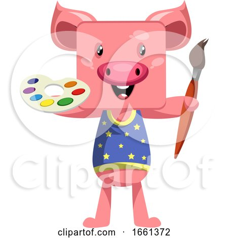 Pig with Paintbrush by Morphart Creations