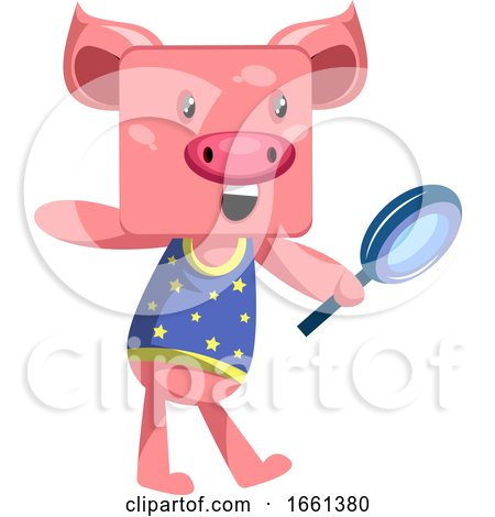 Pig with Magnifying Glass by Morphart Creations