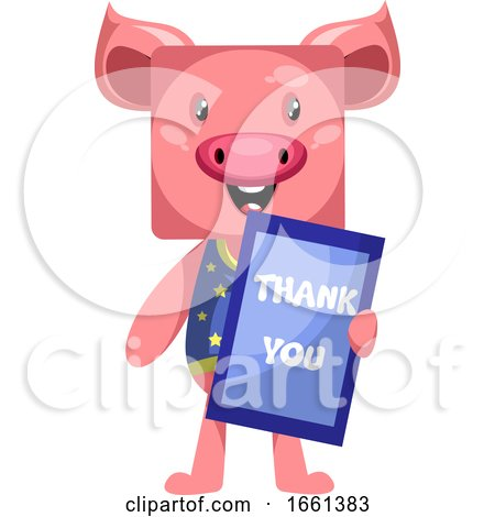 Pig with Thank You Sign by Morphart Creations