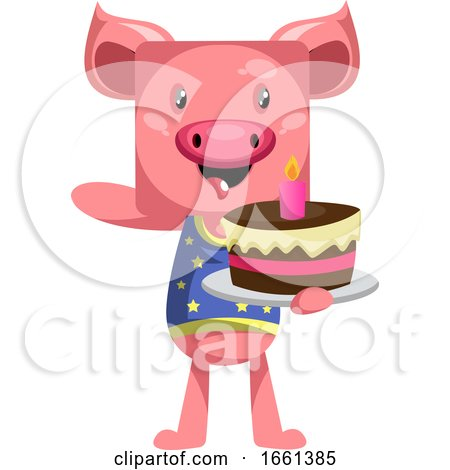 Pig Holding Cake by Morphart Creations