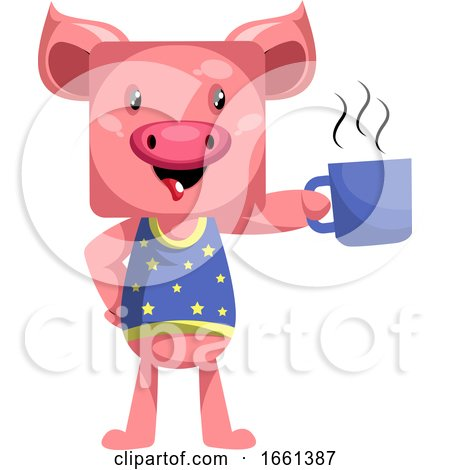 Pig with Cup of Coffee by Morphart Creations