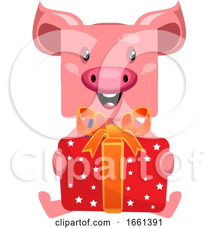 Pig with Birthday Present by Morphart Creations