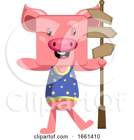 Pig with Road Sign by Morphart Creations