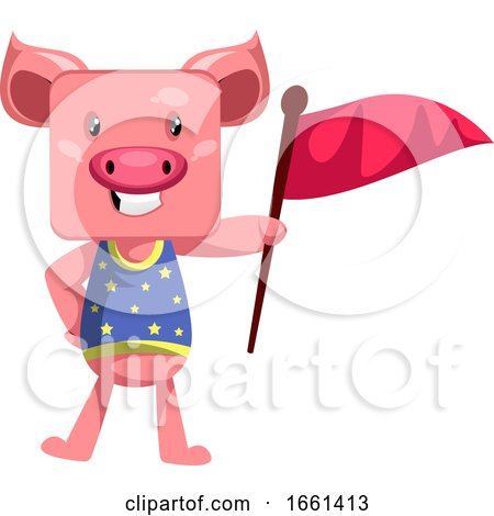 Pig Holding Red Flag by Morphart Creations