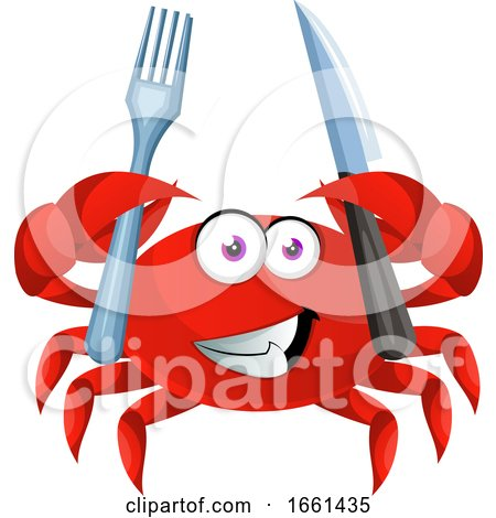 Crab with Knife and Fork by Morphart Creations