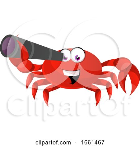 Crab Looking with Telescope by Morphart Creations