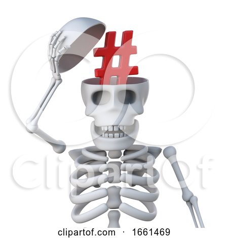 3d Skeleton Has a Hash Tag in His Skull for Some Reason by Steve Young